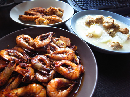 乡下风味冬瓜烩肉丸+老干妈红烧虾+三味炸鸡翅